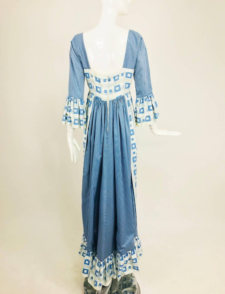 Tina Leser Original blue and white cotton maxi dress, 1960s For Sale 3