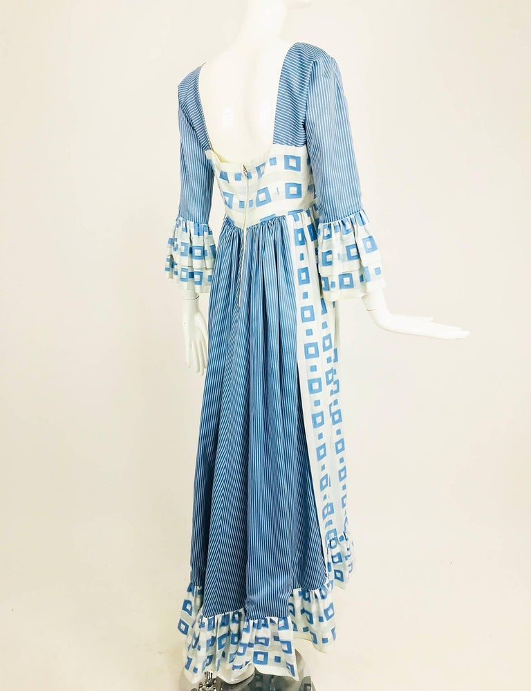 Tina Leser Original blue and white cotton maxi dress, 1960s For Sale 4