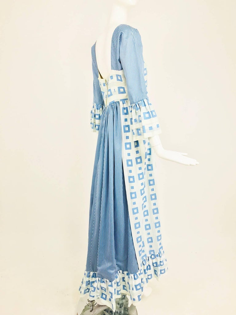 Tina Leser Original blue and white cotton maxi dress, 1960s For Sale 5