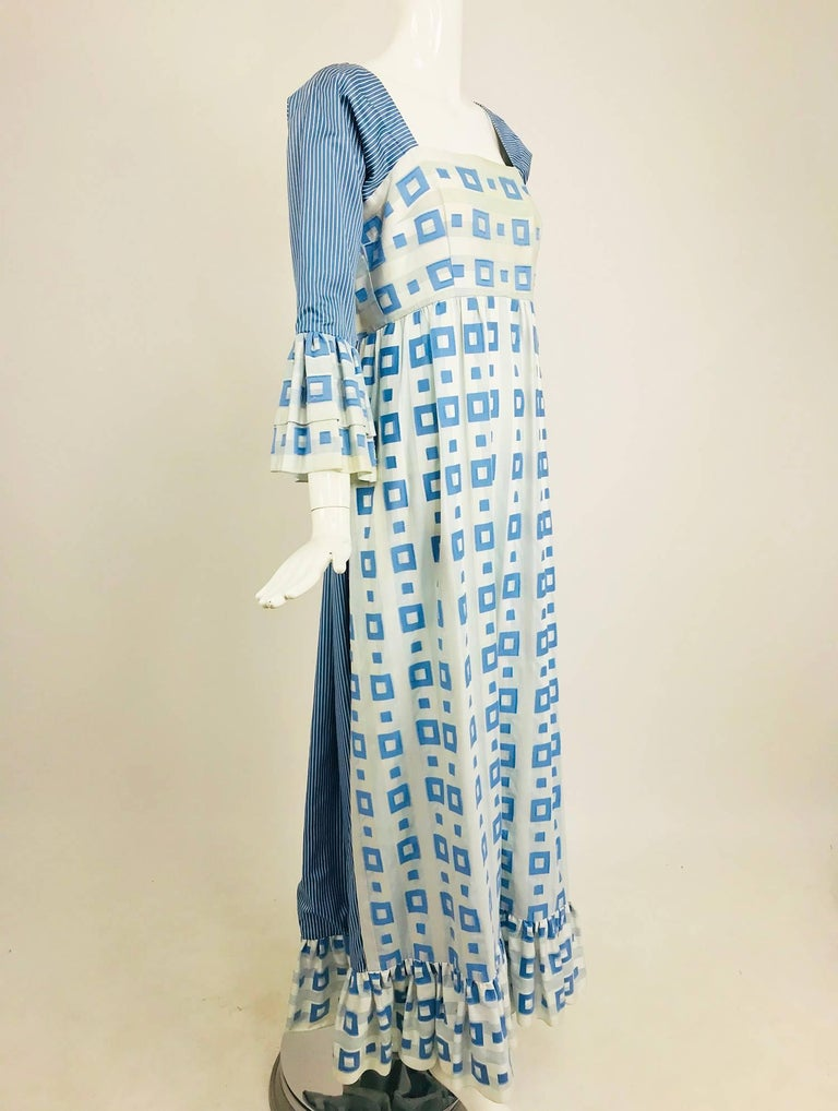 Tina Leser Original blue and white cotton maxi dress, 1960s For Sale 7