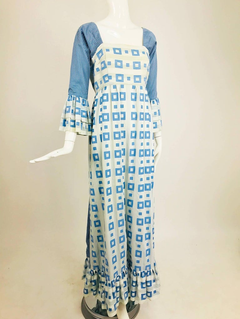 Tina Leser Original blue and white cotton maxi dress, 1960s For Sale 8