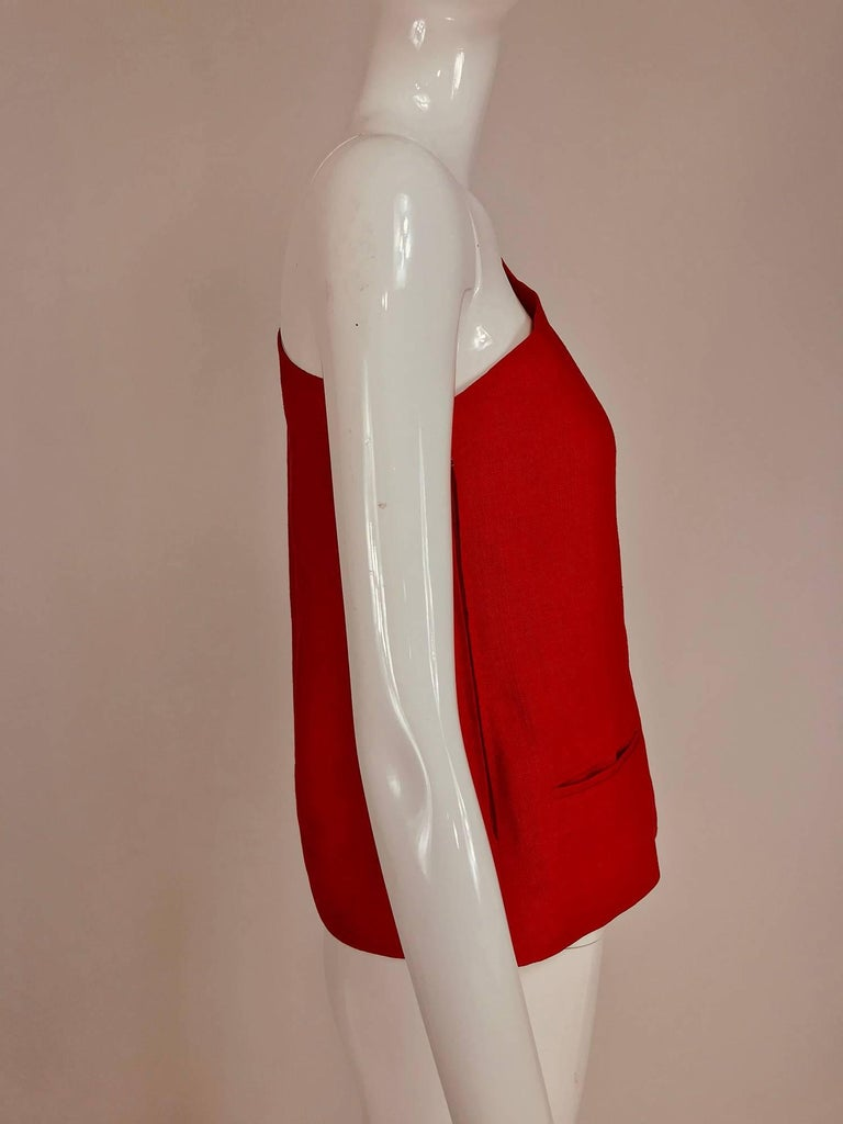 Red Bill Blass red linen one shoulder top 1970s For Sale