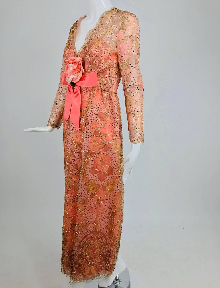 Sarmi Coral metallic woven painted tulle sequined evening dress from the 1960s. Count Ferdinando Sarmi was known for his opulent evening looks and extravagant fabrics. Born in Italy, he worked at Elizabeth Arden from 1951 until 1959 when he started