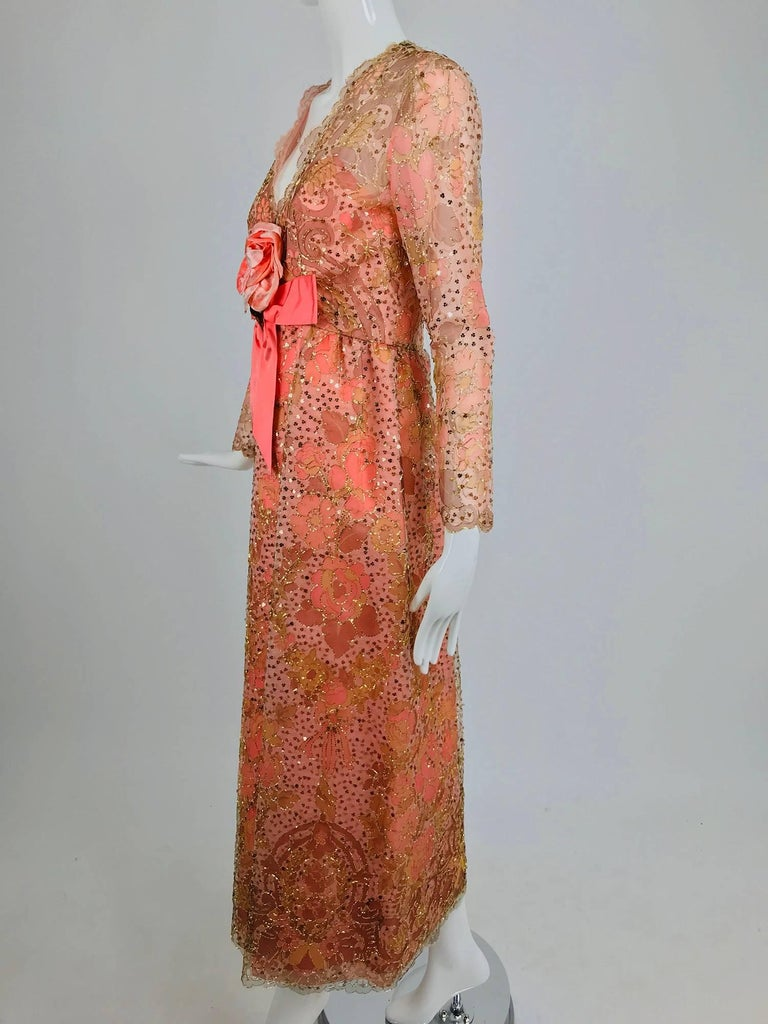 Orange Sarmi Coral metallic woven painted tulle sequined evening dress 1960s For Sale