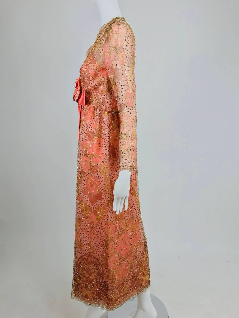 Sarmi Coral metallic woven painted tulle sequined evening dress 1960s In New Never_worn Condition For Sale In West Palm Beach, FL