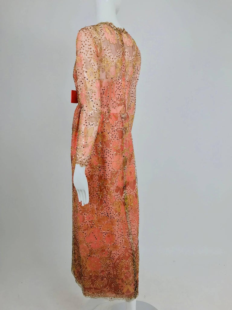 Women's Sarmi Coral metallic woven painted tulle sequined evening dress 1960s For Sale