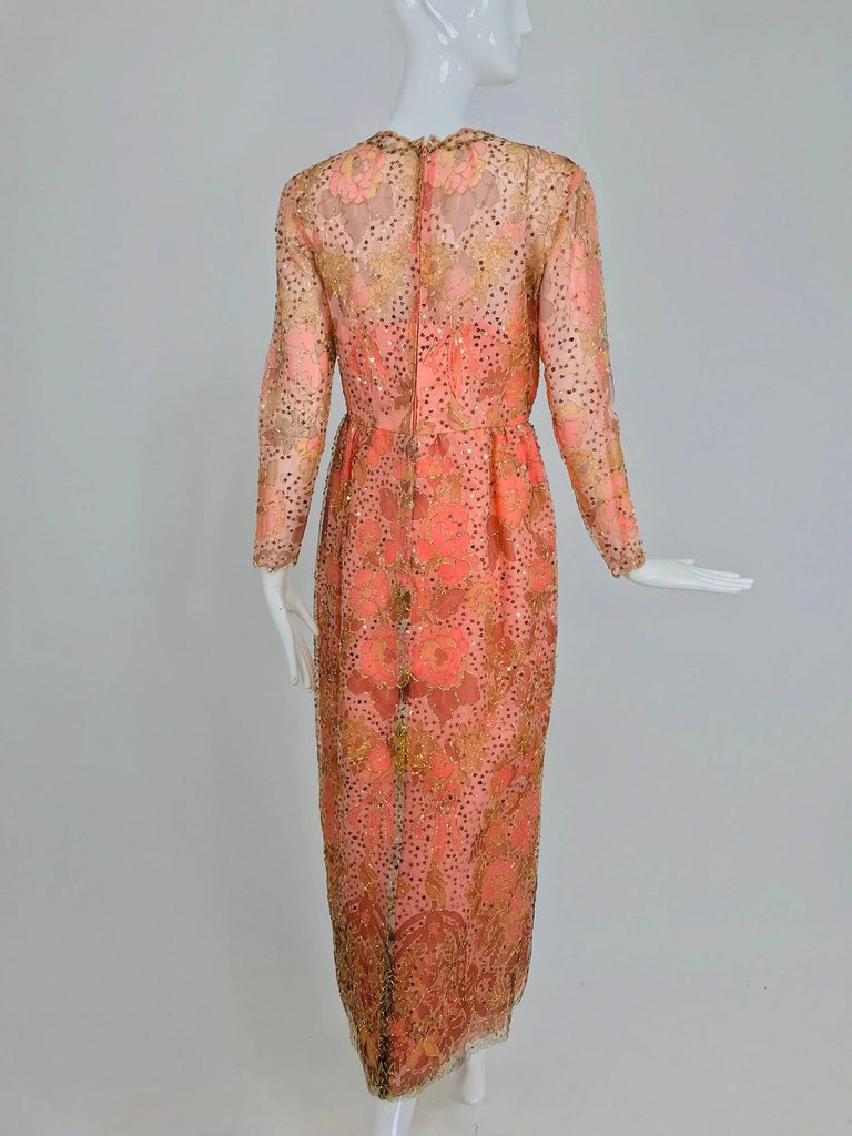 Sarmi Coral metallic woven painted tulle sequined evening dress 1960s For Sale 1