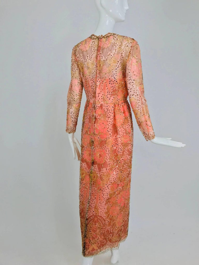 Sarmi Coral metallic woven painted tulle sequined evening dress 1960s For Sale 2