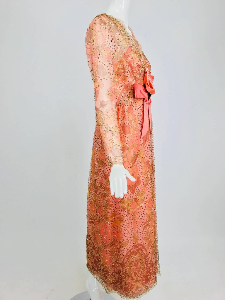 Sarmi Coral metallic woven painted tulle sequined evening dress 1960s For Sale 4