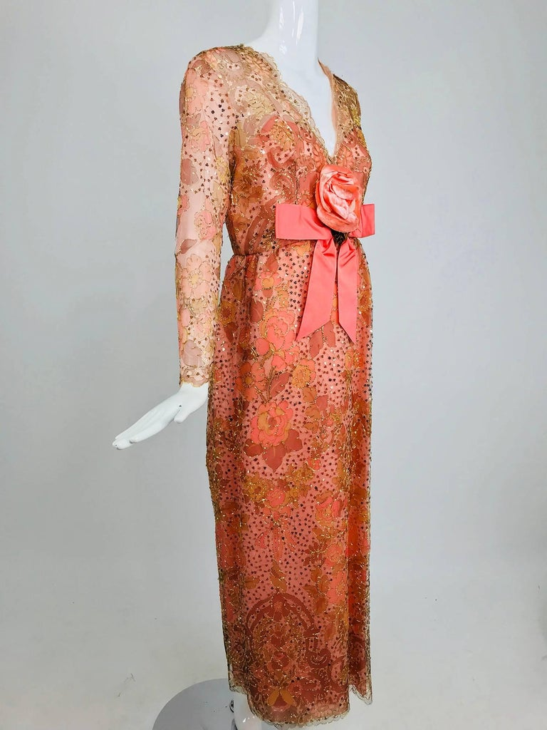 Sarmi Coral metallic woven painted tulle sequined evening dress 1960s For Sale 5