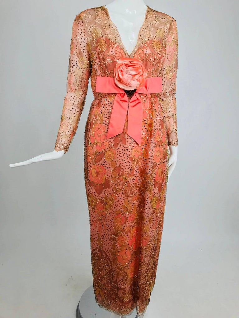 Sarmi Coral metallic woven painted tulle sequined evening dress 1960s For Sale 6