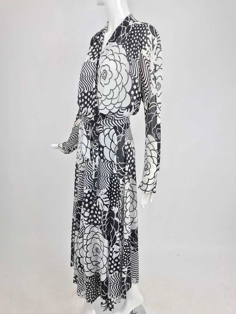 Gray Gottex black and white jersey wrap dress 1980s For Sale