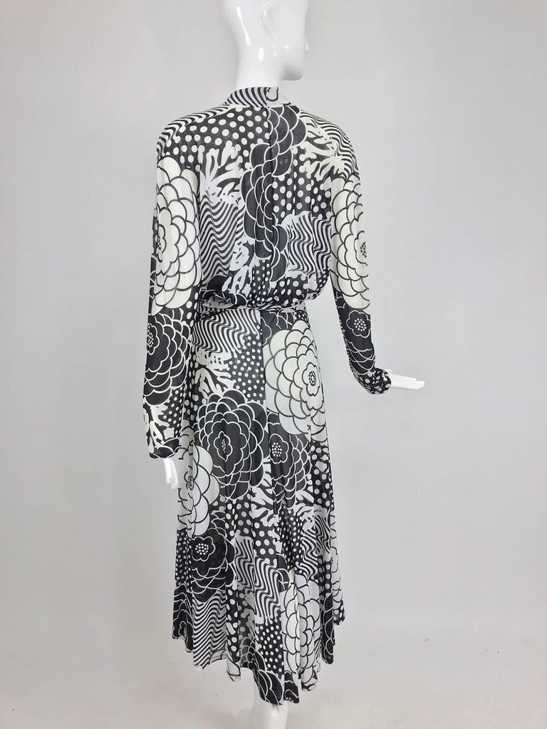 Gottex black and white jersey wrap dress 1980s For Sale 1
