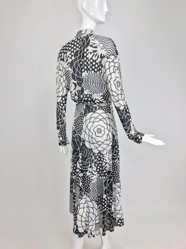 Gottex black and white jersey wrap dress 1980s For Sale 3