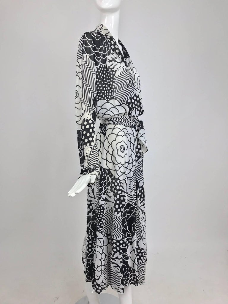 Gottex black and white jersey wrap dress 1980s For Sale 6