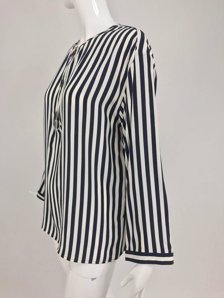 Black Valentino Navy blue and white stripe silk blouse For Sale