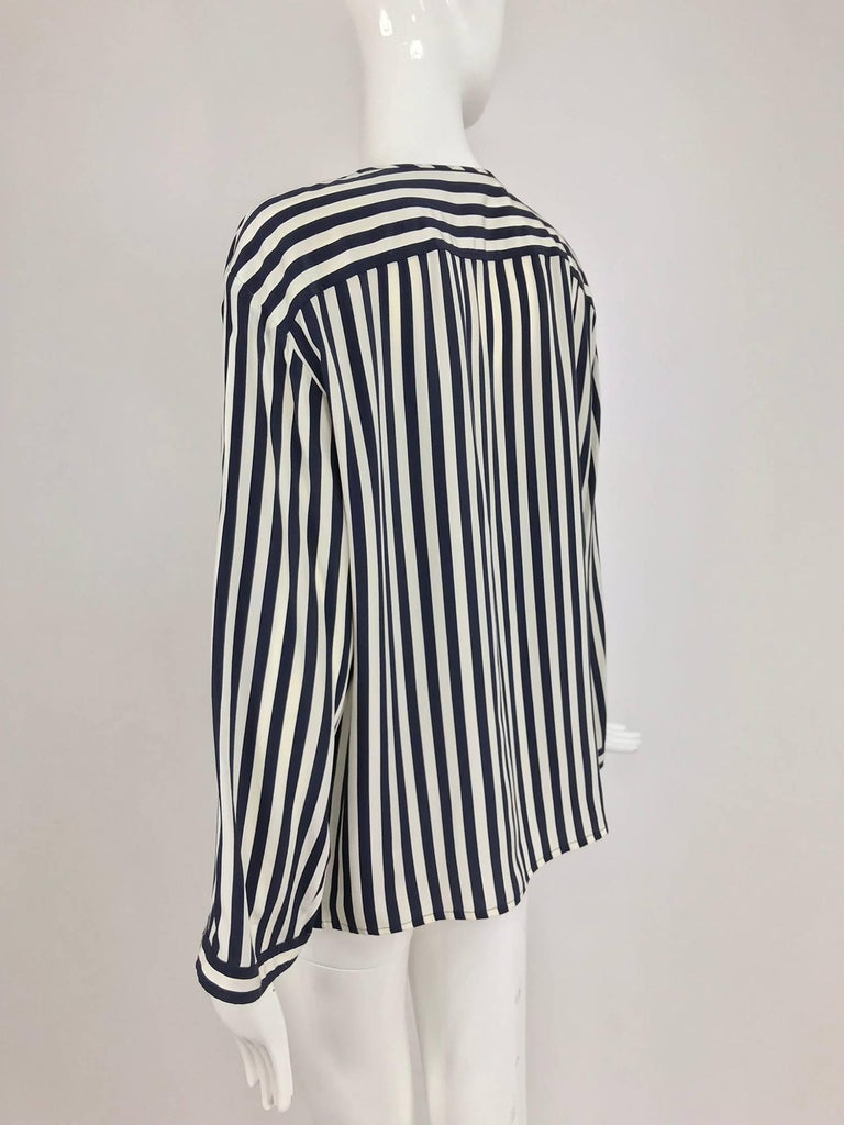 Women's Valentino Navy blue and white stripe silk blouse For Sale
