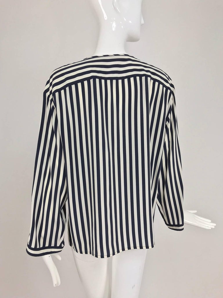 Valentino Navy blue and white stripe silk blouse For Sale 1
