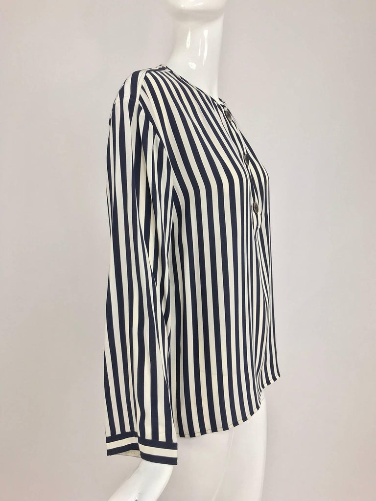 Valentino Navy blue and white stripe silk blouse For Sale 6