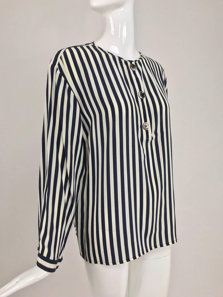 Valentino Navy blue and white stripe silk blouse For Sale 7