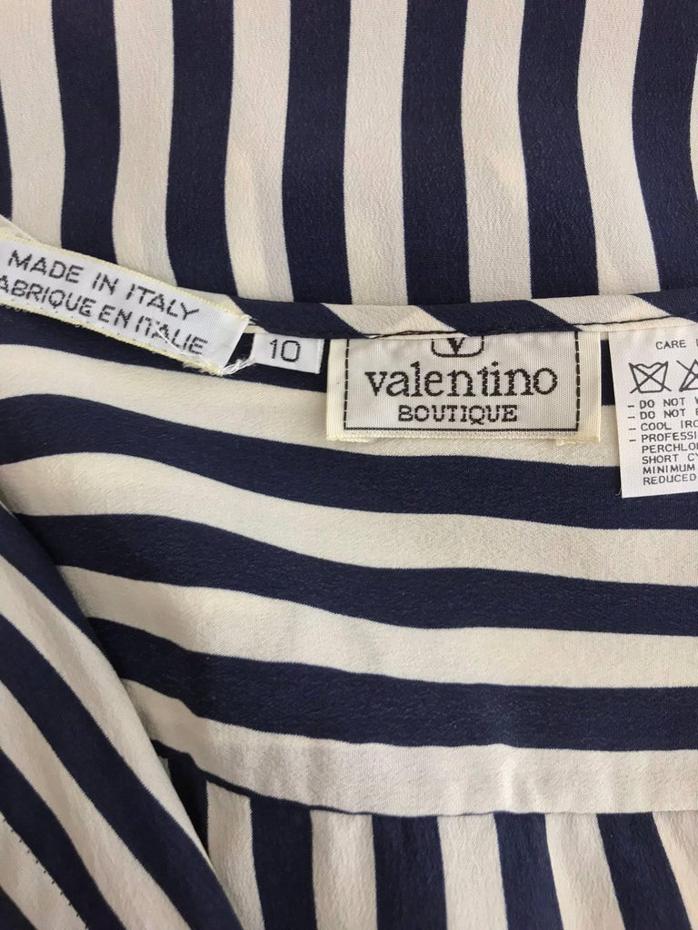 Valentino Navy blue and white stripe silk blouse For Sale 8