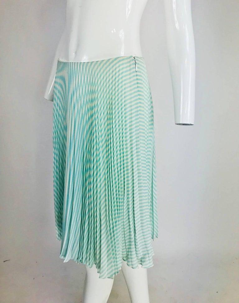 Oscar de la Renta aqua and white knife pleated silk crepe skirt For Sale 5