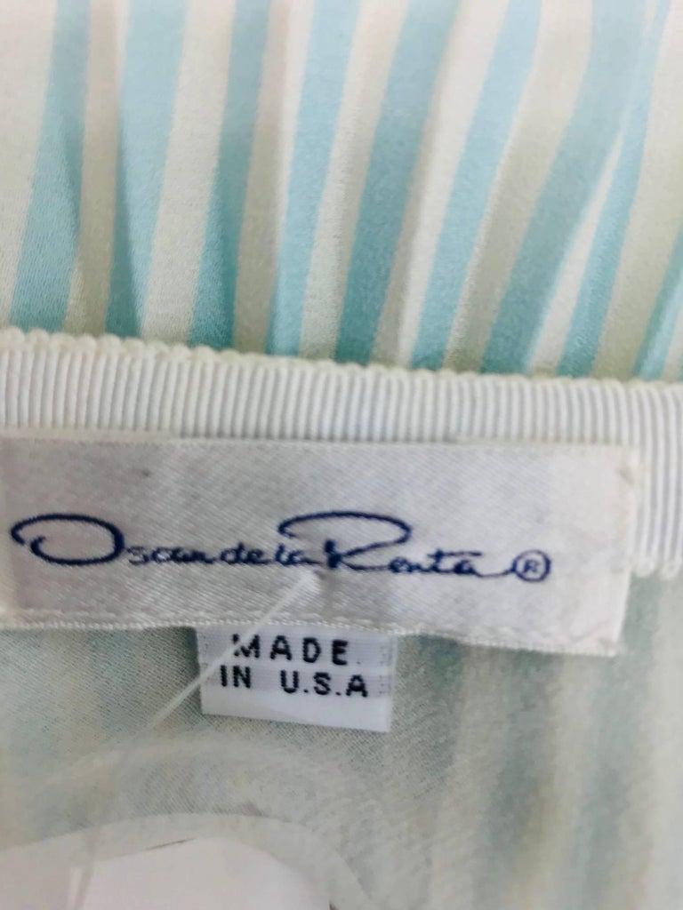 Oscar de la Renta aqua and white knife pleated silk crepe skirt For Sale 6