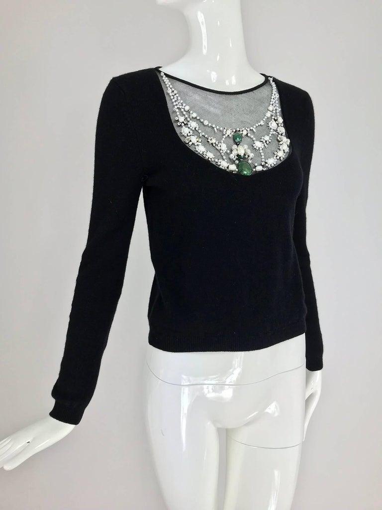 Black Oscar de la Renta jewel decorated neckline black sweater For Sale