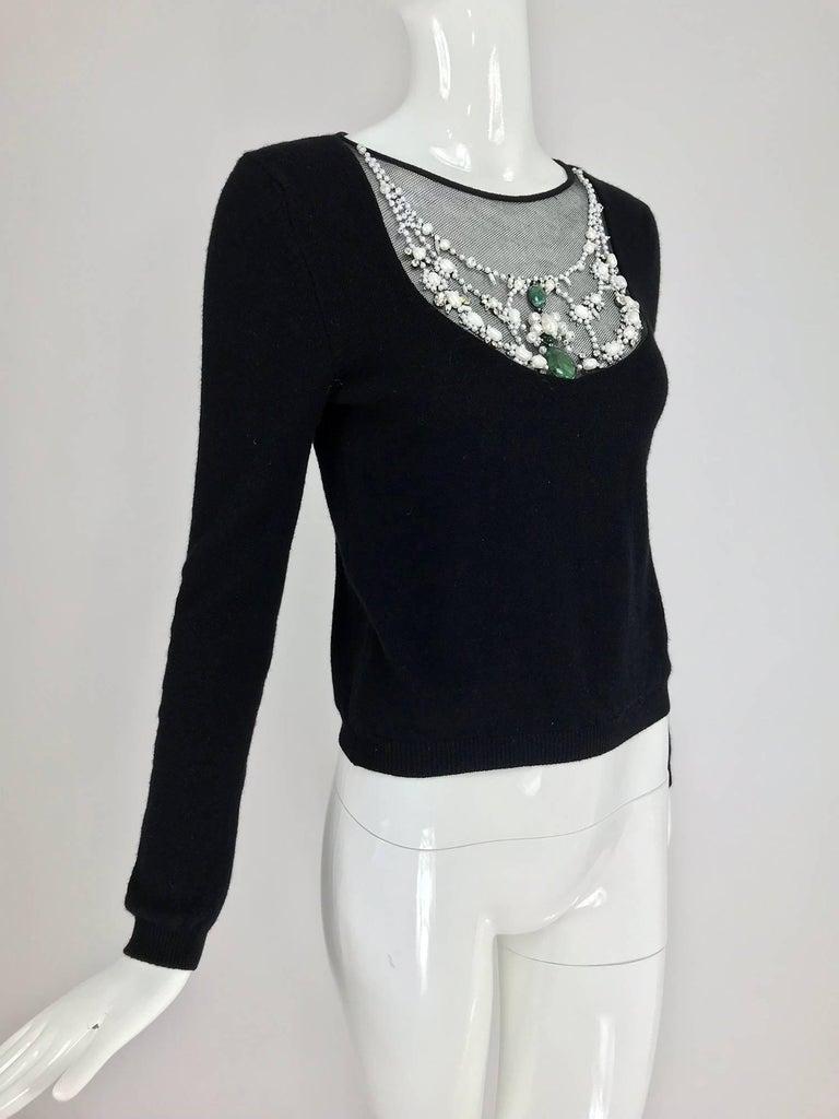 Oscar de la Renta jewel decorated neckline black sweater In Excellent Condition For Sale In West Palm Beach, FL