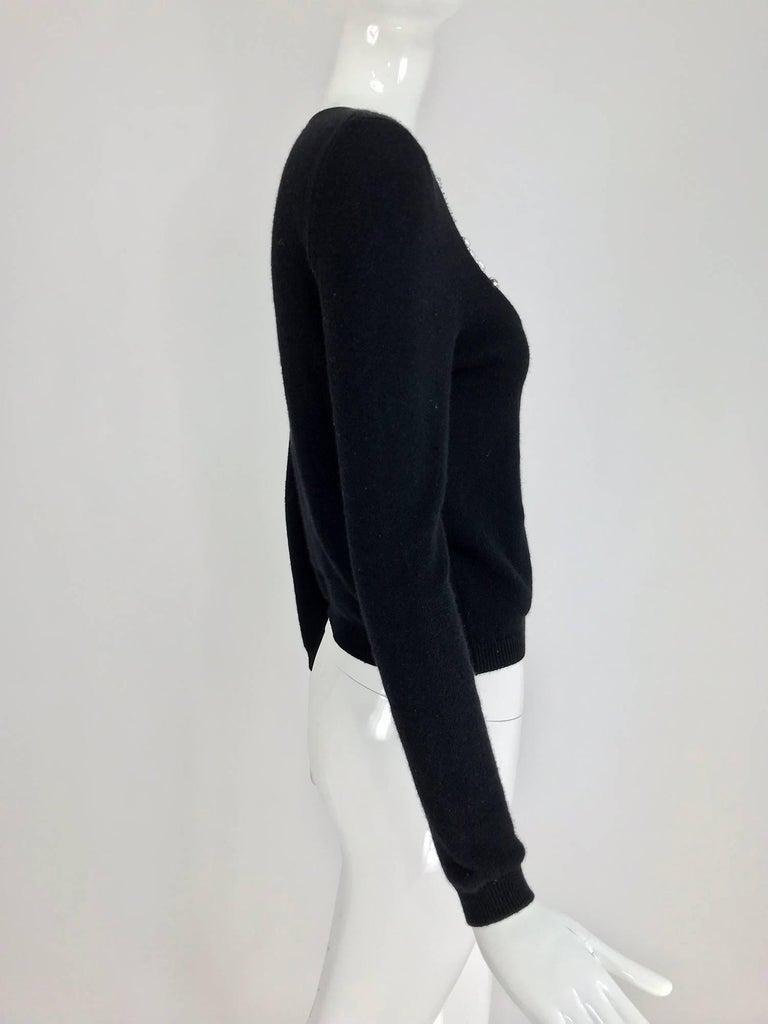 Oscar de la Renta jewel decorated neckline black sweater For Sale 1