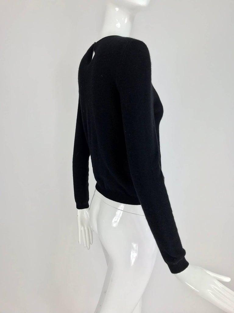 Oscar de la Renta jewel decorated neckline black sweater For Sale 2
