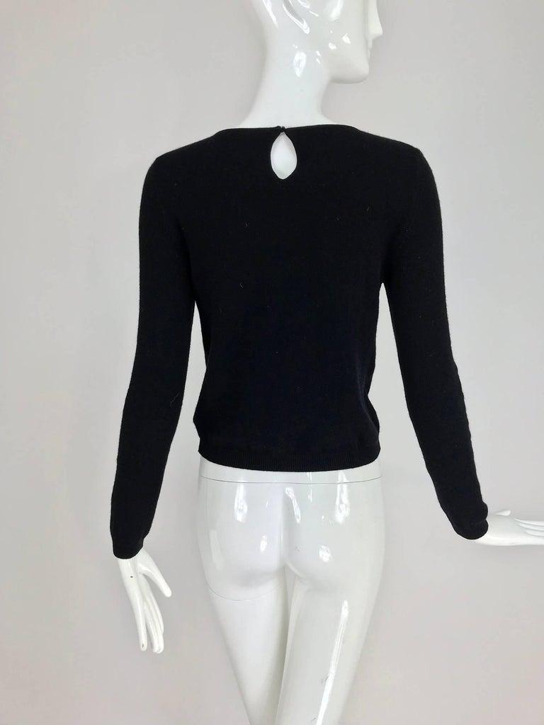 Oscar de la Renta jewel decorated neckline black sweater For Sale 3