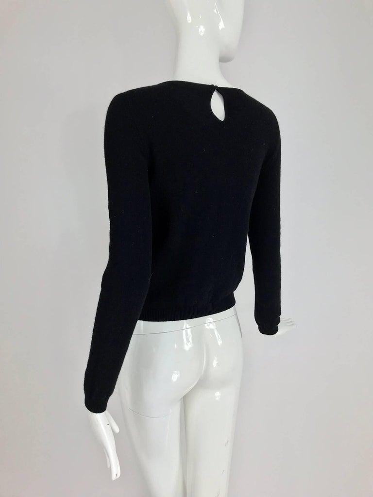 Oscar de la Renta jewel decorated neckline black sweater For Sale 4