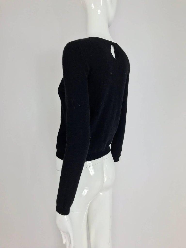 Oscar de la Renta jewel decorated neckline black sweater For Sale 5