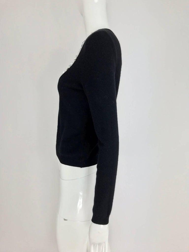 Oscar de la Renta jewel decorated neckline black sweater For Sale 6