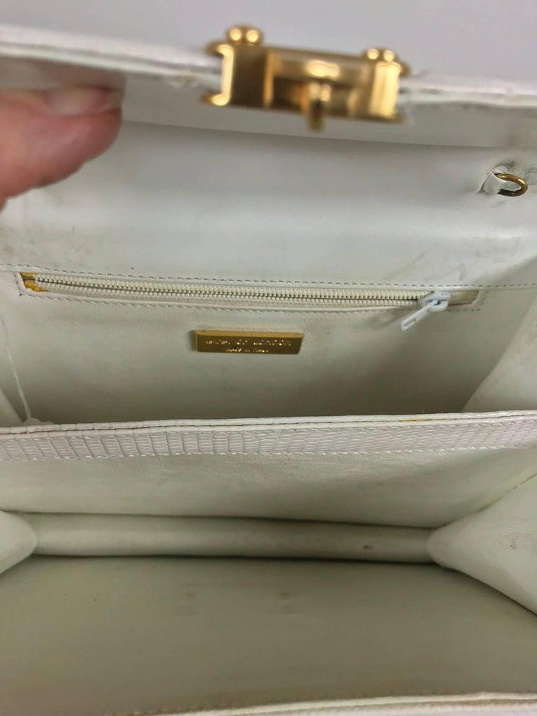 Lana of London white envelope lizard clutch gold hardware For Sale 2