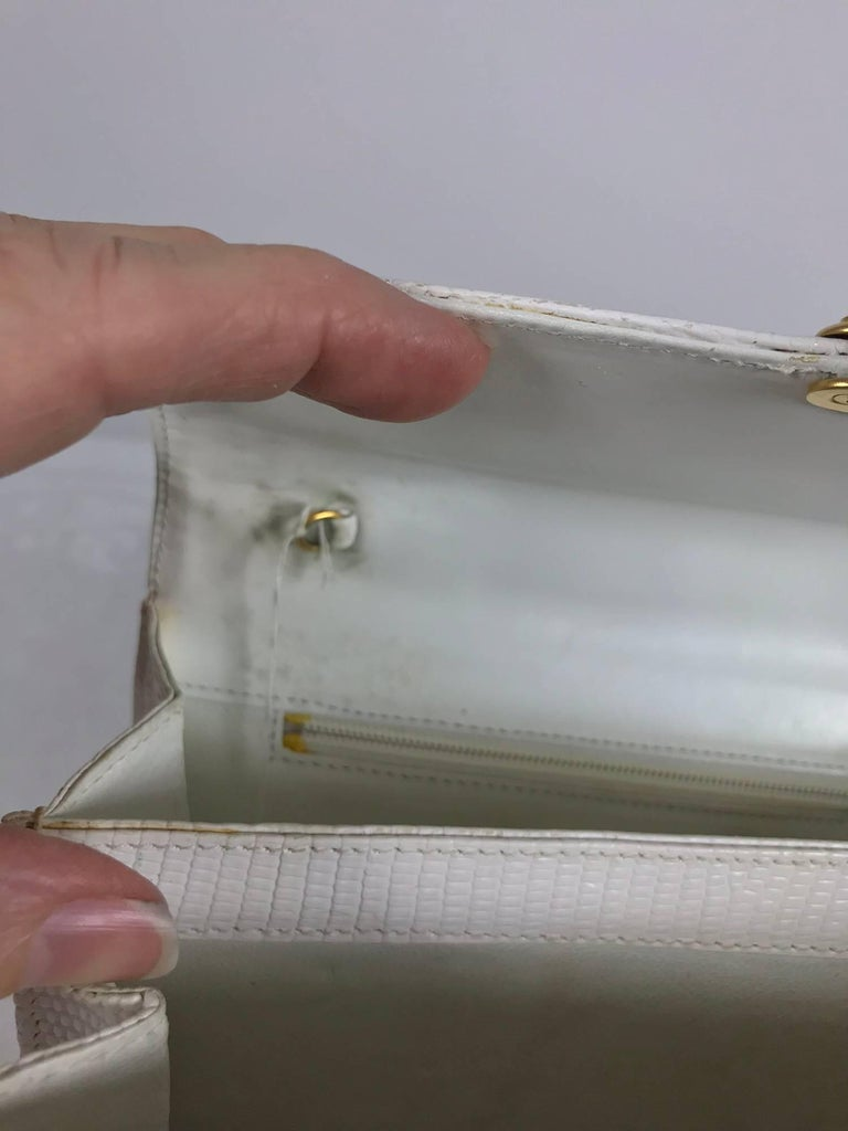 Lana of London white envelope lizard clutch gold hardware For Sale 3