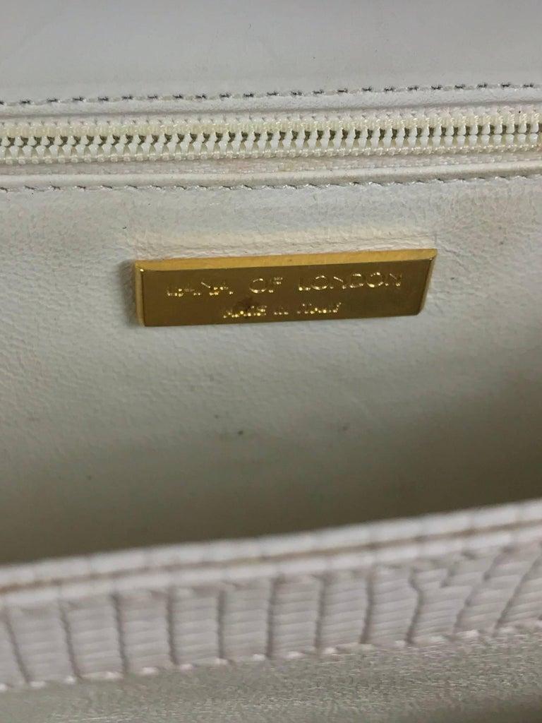Lana of London white envelope lizard clutch gold hardware For Sale 4