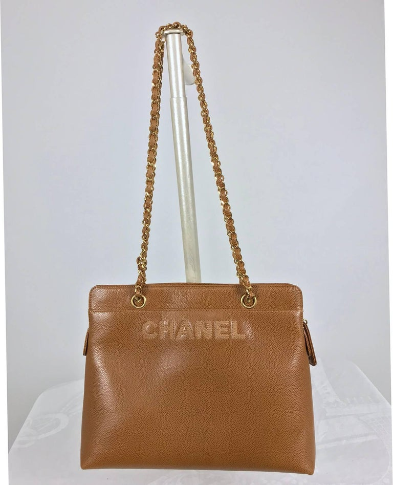 Brown Chanel caramel pebble leather chain strap shoulder bag unused For Sale