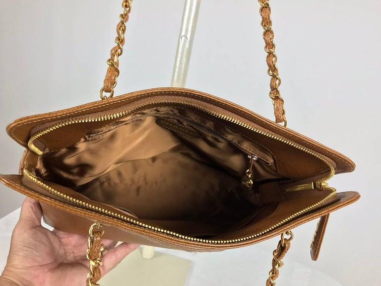 Chanel caramel pebble leather chain strap shoulder bag unused For Sale 4
