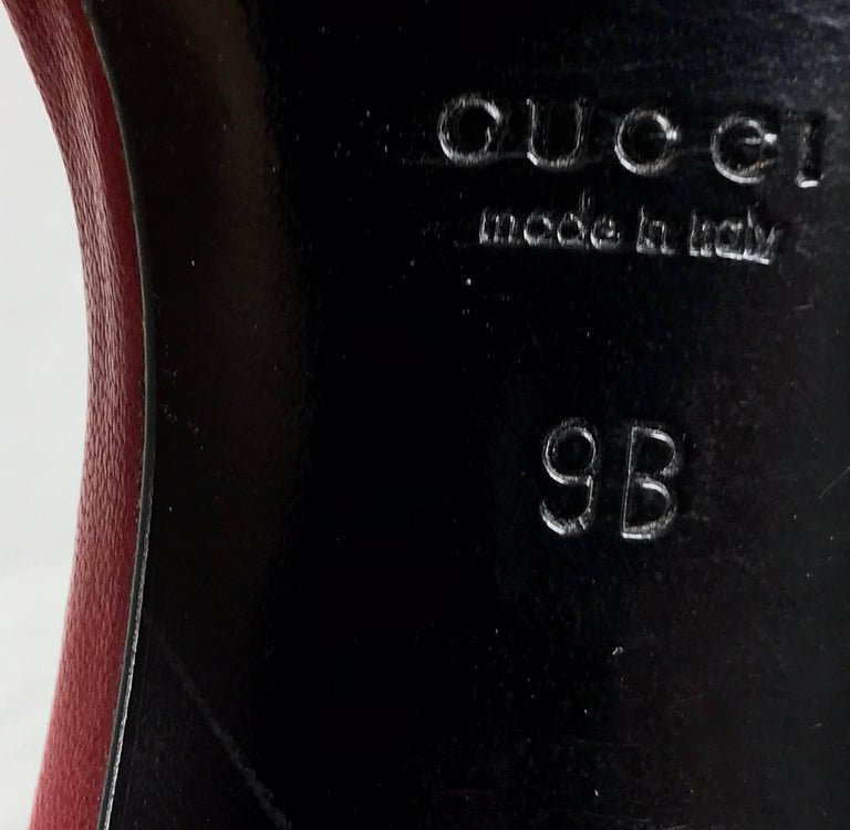 Gucci wine red leather Lucite heel mules 9B Unworn For Sale 4