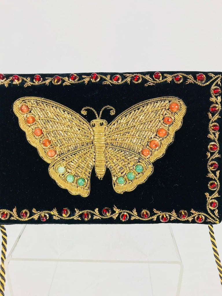 Jewel bead gold bouillon black velvet embroidered butterfly evening bag from the 1970s. Unique shoulder bag similar to bags done in India for Yves Saint Laurent in the 1970s. This bag is in excellent condition. Black velvet is heavily embroidered at