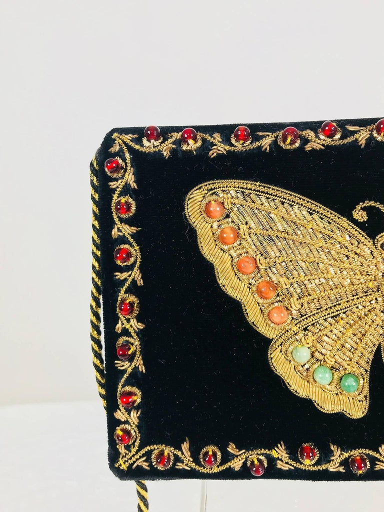 Black Jewel bead gold bouillon embroidered butterfly evening bag 1970s For Sale