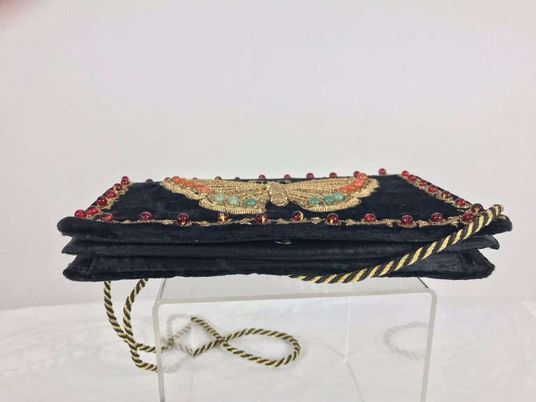 Jewel bead gold bouillon embroidered butterfly evening bag 1970s For Sale 2