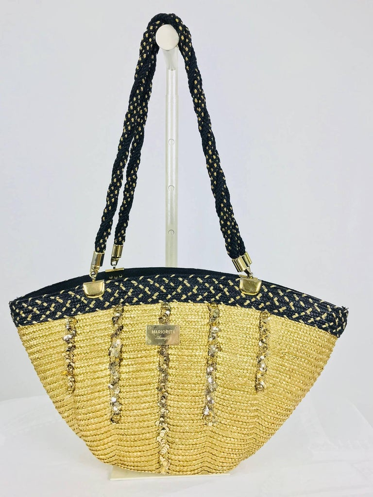 Mariorita Anacapri natural straw tote bag 1980s In Excellent Condition For Sale In West Palm Beach, FL