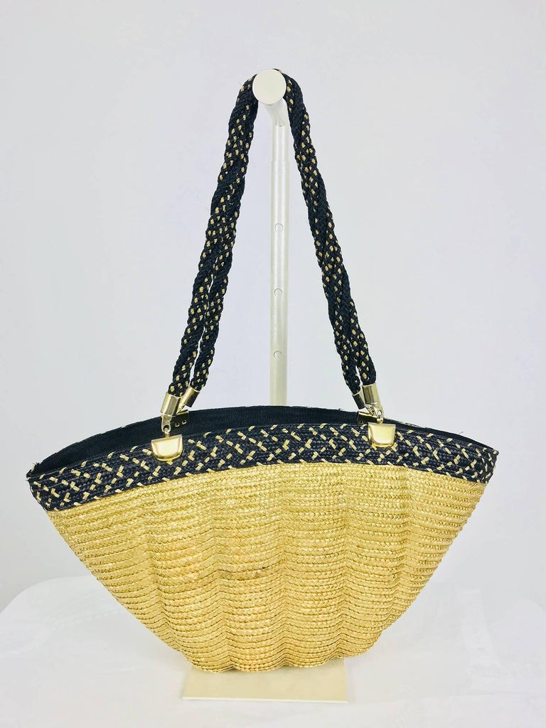 Women's Mariorita Anacapri natural straw tote bag 1980s For Sale