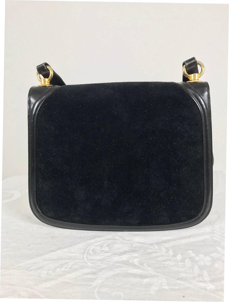 Black Gucci black suede and leather Blondie shoulder bag with gold hardware, 1970s  For Sale