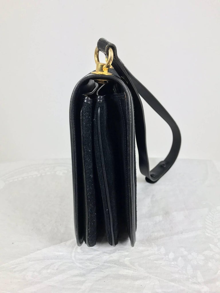 Women's or Men's Gucci black suede and leather Blondie shoulder bag with gold hardware, 1970s  For Sale