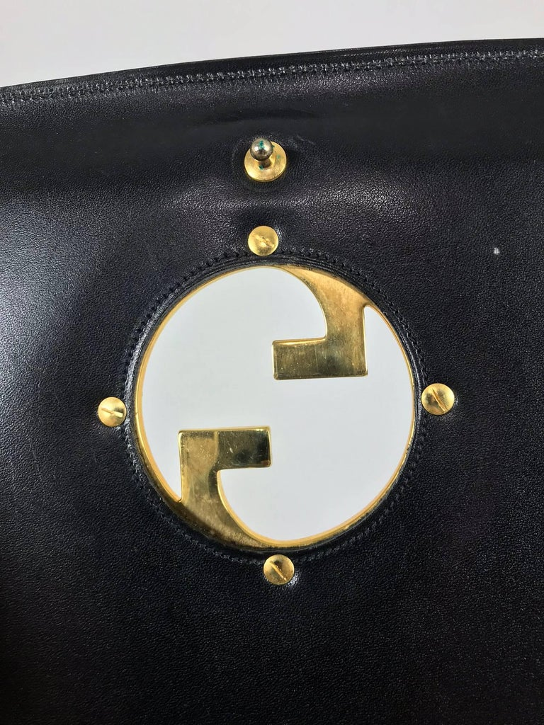 Gucci black suede and leather Blondie shoulder bag with gold hardware, 1970s  For Sale 6