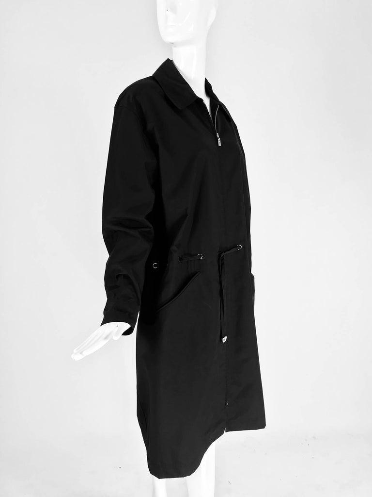 Black Chanel black zip front draw cord waist rain coat 1998P For Sale